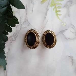 Vintage Gold Crimson Red Black Oval Earrings